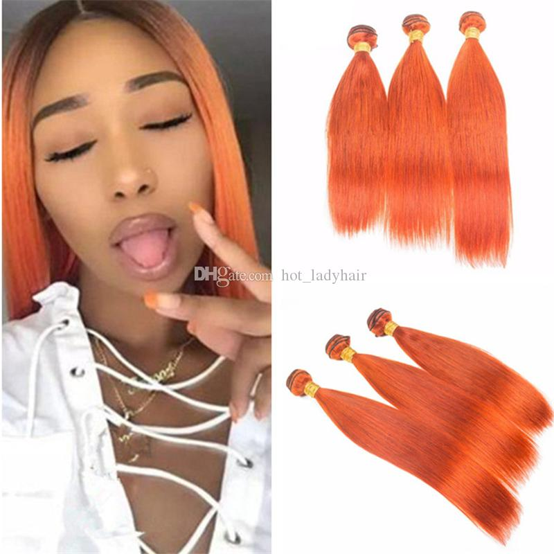 Indian Straight Human Hair Color Orange 3 Bundles Burnt Orange Pure