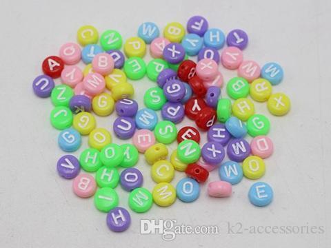 100PCS 7MM White//Multi Mixed Alphabet Letter Acrylic Cube Beads-Jewellery Making