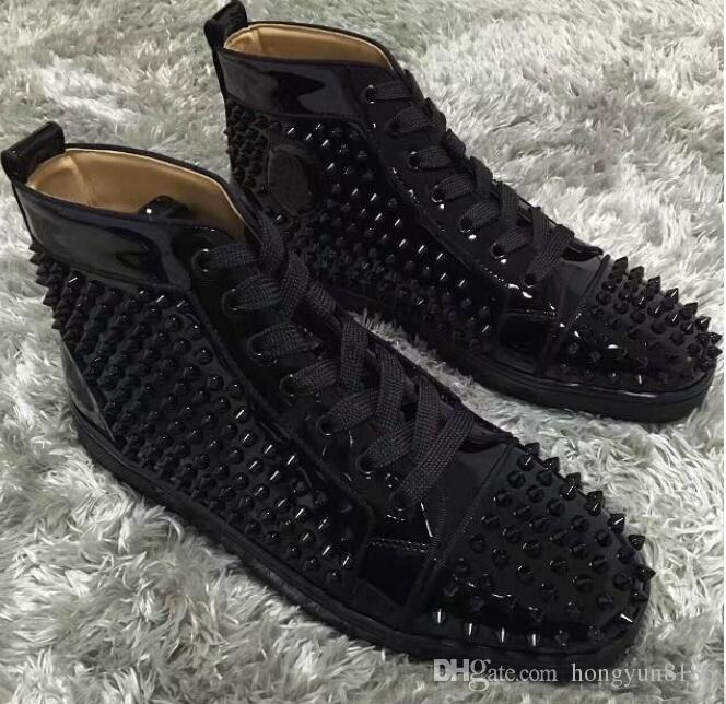 5b6dfc833b7 wholesale High Top/Spikes/Lace Up/Red Sole Sneakers Flat Studded Dress  Party Red Bottom Luxury Men Outdoor Casual Leisure Flats 36-46
