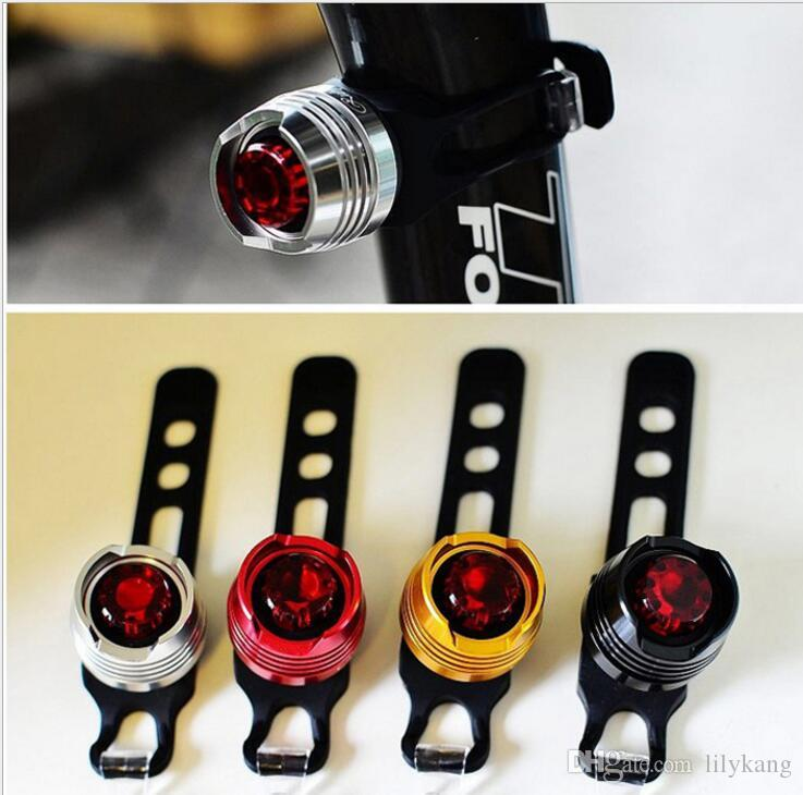 waterproof aluminium alloy bike head light 3 modes cycling safety warming lights Gem tail lamp flashing bicycle warming light
