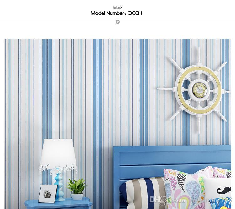 신선한 지중해 파란색 수직 줄무늬 바탕 화면 벽화 벽지 롤 모조 벽지 볼륨 기능 벽지 거실 침실 홈