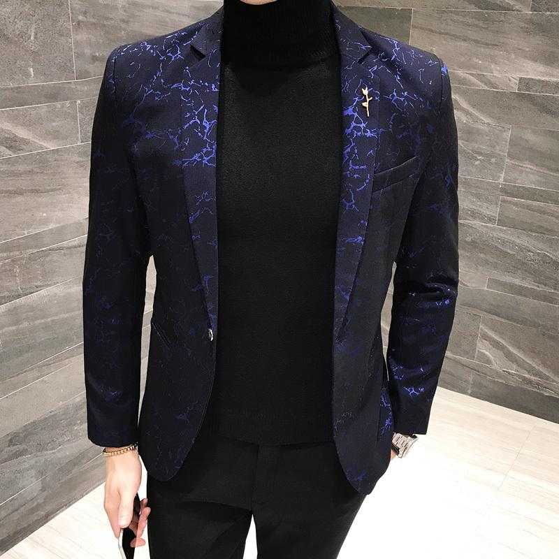 57e8c7a9b7eee 2019 Shinny Blazer Hombre Casual Men Blazer Slim Fit Designer Pattern Suit  Jacket Men Party Club Prom 4xl 5xl Black Blue Red From Griseldala