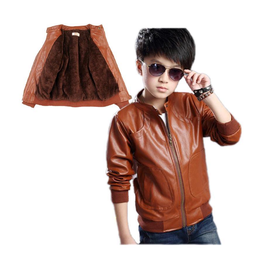 4e2c27b76 Retro Boy Causal Jacket Coat Solid Velvet Thick Leather Jacket Coat ...