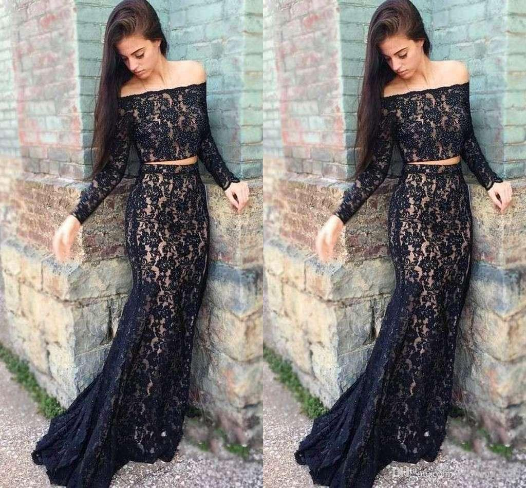 c3e85a7c0ff 2018 Two Pieces Black Mermaid Evening Dresses Lace Beaded Off Shoulder Long Sleeve  Special Occasion Dresses Sexy Prom Dresses Evening Gowns Black Formal ...
