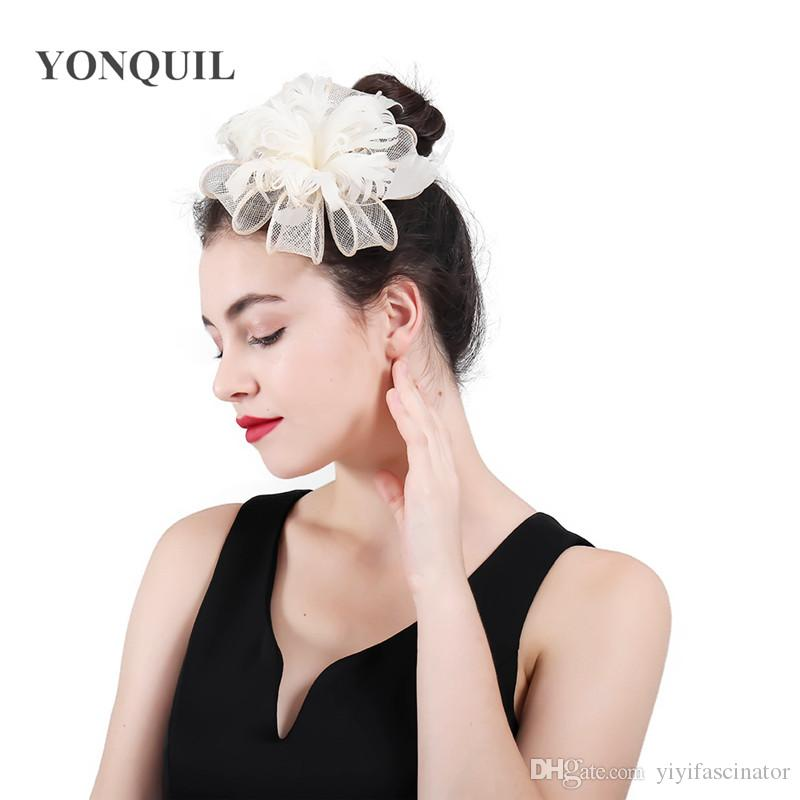 2018 New Sinamay Church Fascinators Hat Fancy Feather Sinamay Loops  Headwear Ivory Evening Party Accessories Race Hair Combs SYF439 Vintage  Wedding Hats ... 52f0c7c7788