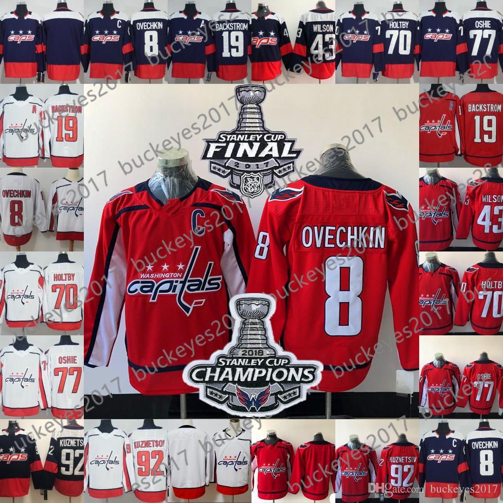 8eff7f64fcd 2019 Washington Capitals 2018 Stanley Cup Champions Patch  8 Alexander  Ovechkin 77 TJ Oshie 92 Evgeny Kuznetsov Red Navy White Hockey Jersey From  ...