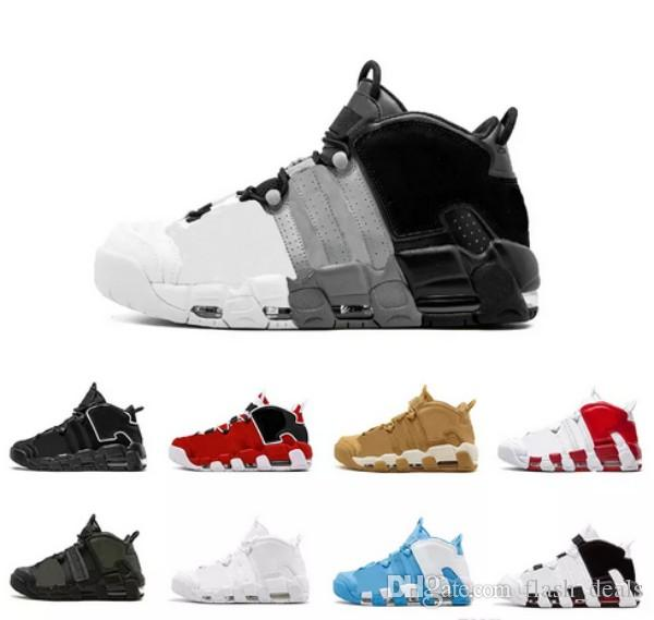 2018 New Air More Uptempo QS Olympic Bulls Varsity Maroon Black Basketball  Shoes Cheap 3M Scottie Pippen Mens Trainers Sneakers Size 40 47 Shaq Shoes  Kd ... 2c8a82bb2