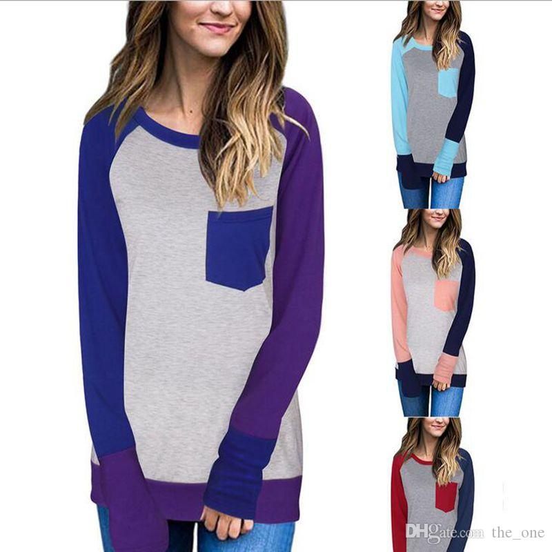 b68870c88 2019 Spring Autumn Women Color Block Pocket Raglan Long Sleeve Baseball  TShirt Splicing O Neck T Shirt All Matched Top Maternity Tees From The_one,  ...