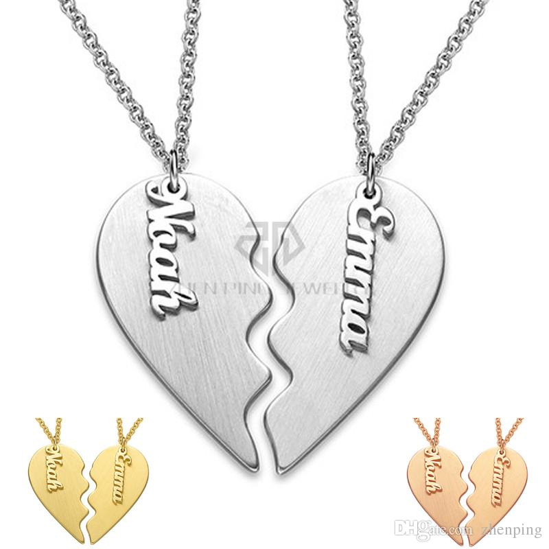 5596012ab7 Valentine'S Day Gift Personalized Classic Breakable Heart Custom Couple  Necklace Stainless Steel Two Half Of A Single Heart Name Pendant Set NZ  2019 From ...