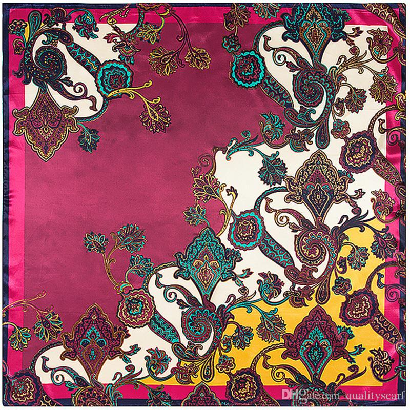 4ee76c57478 Luxury Silk Large Floral Print Scarf Foulard 90 90 Cheveux Femme Echarpe  Designer Shawls Square Red Paisley Bandana Scarf Wholesale Winter Scarves  Blanket ...