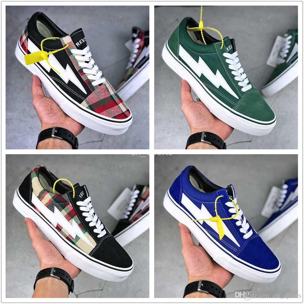 34f9e648f090 2018 New Revenge x Storm Old Skool Green Black Red Yellow Mens Women Canvas  Shoes Kendall