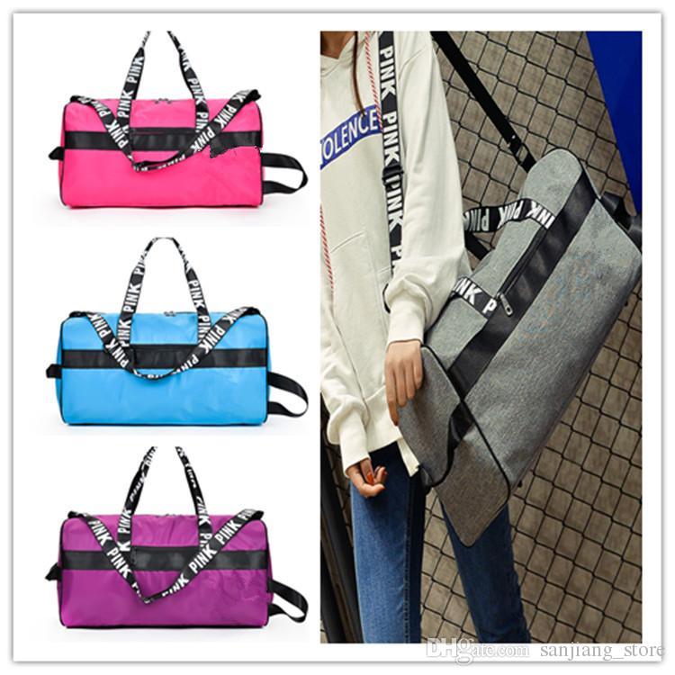 e1d0a1ed4db7 Men Women Duffel Bags Gym Yoga Bag Pink Letter Handbag Big Capacity  Waterproof Travel Beach Luggage Bag Totes Unisex Shoulder Bag Online with   30.18 Piece ...