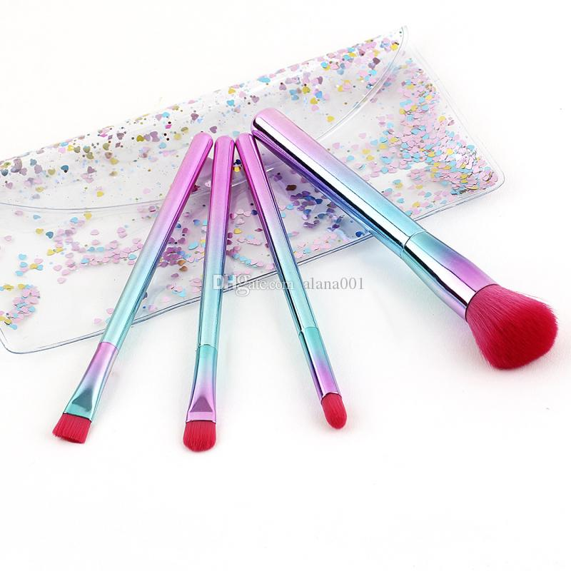 Newest 4pcs Gradient Makeup Brushes set Plating Handle Makeup Brush Beauty Makeup Kit 17.5*3.5cm