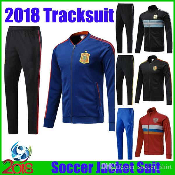 3583b7acc 2019 New 2018 Spain Argentina Soccer Tracksuit Man Uniforms Jacket + Pants  Belgium Russia Training Suits National Team Football Long Sleeve Set From  ...
