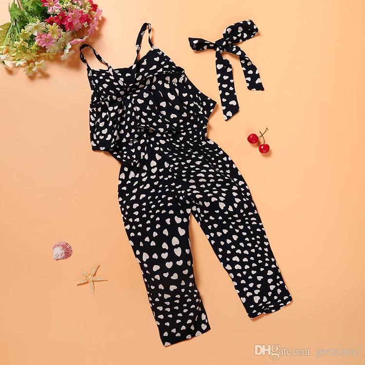 New style toddler baby girl kids polk love heart romper one-piece jumpsuit playsuit harem pants top quality