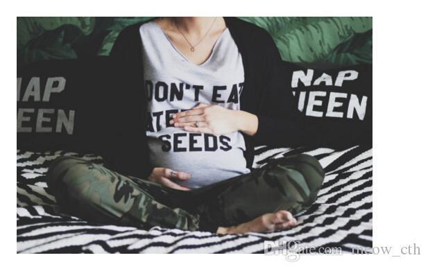 2018 الصيف مضحك الأمومة المحملة الحب لا تأكل بذور البطيخ إلكتروني طباعة رمادي النساء الحوامل الكبس قميص