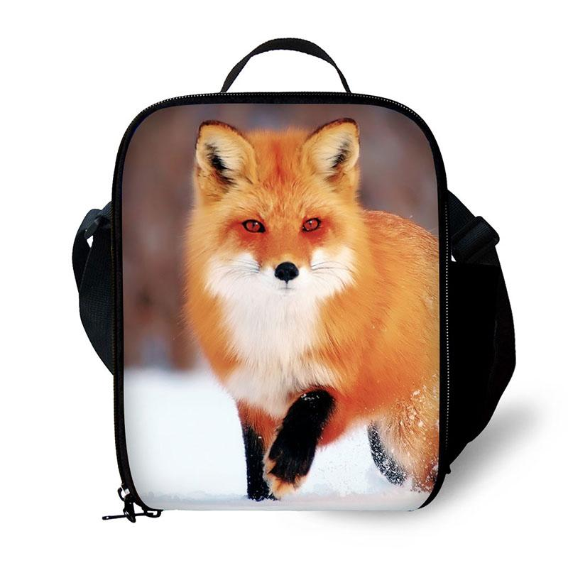 Cute Fox Lunch Bags For Kids School Personalized Lunch Bag Patterns For Women Teen Messenger Box Bag With Straps