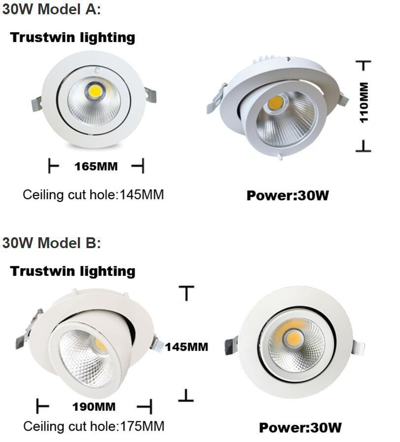 Plafonnier orientable à LED encastré au plafond orientable à la lumière du tronc