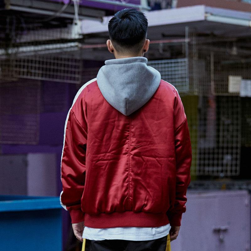 Aolamegs Jacket Men Listrado Com Capuz Jaqueta Masculina Com Zíper Bolso Grande Moda Casual Outwear Homens Streetwear Casaco Casal Outono Marca