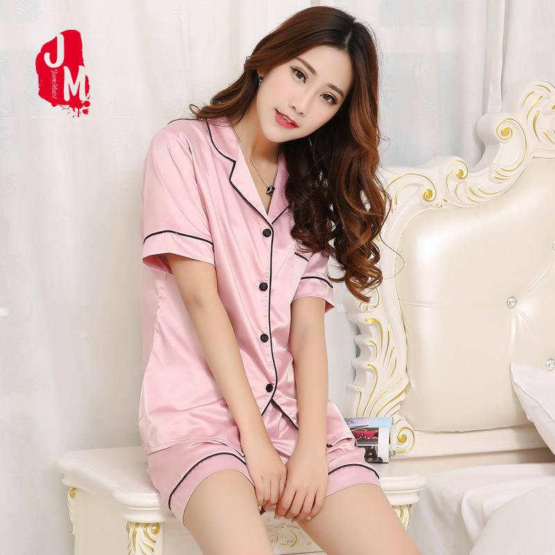 57928d5ae5af 2019 Women Silk Pajamas Sets Summer Short Sleeve T Shirt &Amp; Shorts Sleepwear  Pyjamas Solid Nighty Suit Loungewear Plus Size XXXXXL From Chengdaphone03,  ...