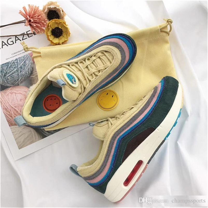 be2457056b With Box 2018 New 97 Sean Wotherspoon Men Running Shoes Top 97s Women Vivid  Sulfur Multi Yellow Blue Hybrid Sports Sneakers Shoes Men Tennis Shoes From  ...