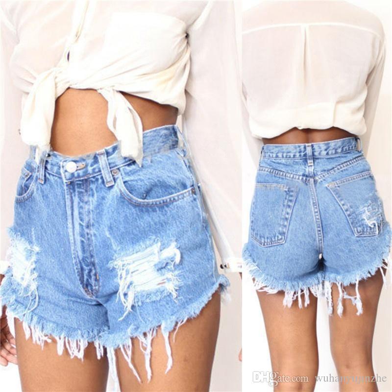 3e7a82abdf5a Pantalones Vaqueros de las mujeres de Verano de Cintura Alta Pantalones  Cortos de Mezclilla Playa Caliente Moda Casual mini pantalones cortos de ...