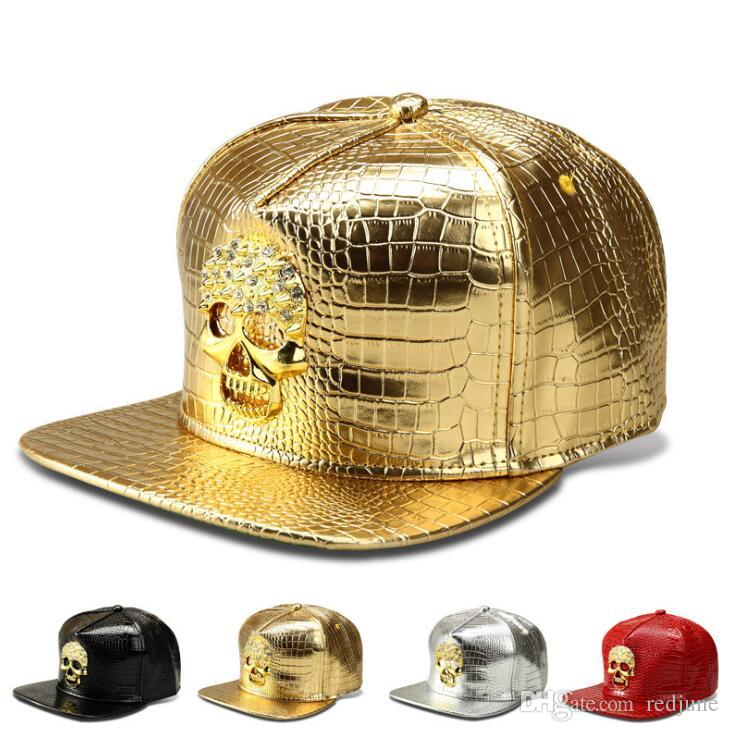 Tide brand skull crystal designer hats for men women hip hop baseball caps men adjustable PU ball caps men