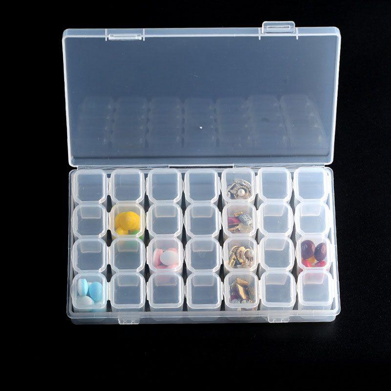 28 Slots Ajustável Caixa De Armazenamento De Plástico Transparente Caso Jóias Maquiagem Organizador Talão Para Armazenamento De Escritório Em Casa QW7123