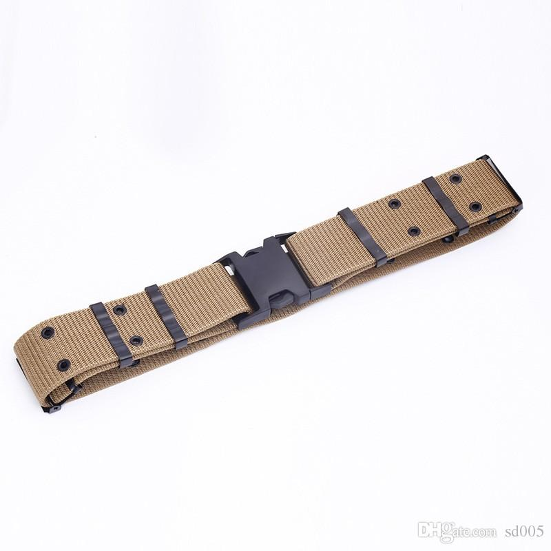 125cm Canvas Waistband Braided S Type Outdoor Belts BDU Square Plastic Buckle Tactical Belt For Men And Women 7hp B