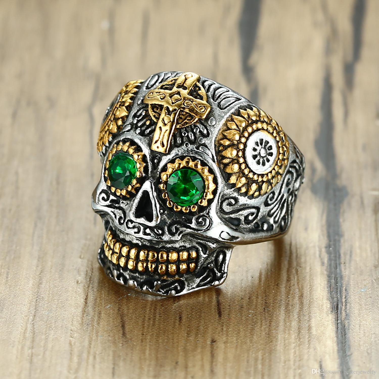 Moltiplicatore all'ingrosso di gioielli tibetani in acciaio al titanio casting scheletro teschio fantasma punk anelli gli uomini con l'occhio verde