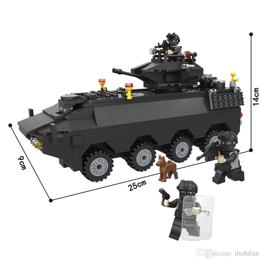 Hsanhe tank Truck Armored Car SWAT Police Command vehicle Series Building Block Brick Educational Toys Children Gifts