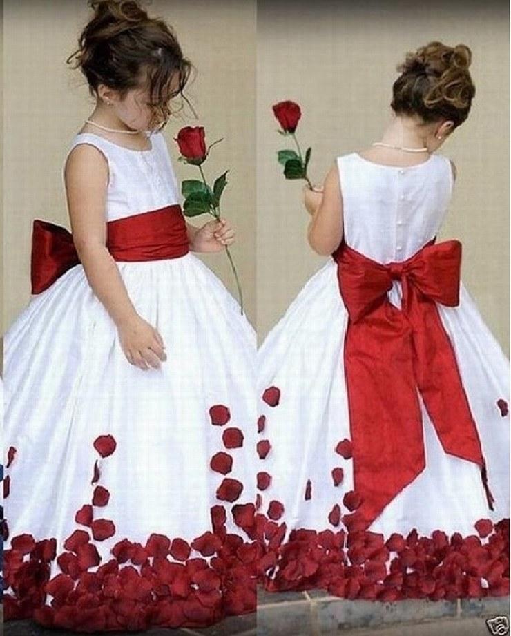 2191448a82439 Acheter Pétales Rouges Enfants Robe Robes De Fille De Fleur Pour Princesse Mariage  Fille De Longueur De Plancher Enfant Partie D anniversaire Robe Ytz132 De  ...