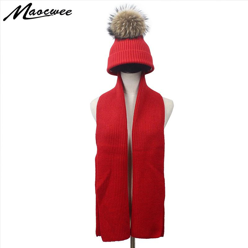 06a8892dba9 Autumn Winter Girl Boy Women Real Fur Pompom Wool Knitted Hat And Scarf  Parent-child Warm Soft Solid Black Red Pom Pom Hat Bones Scarf Hat   Glove  Sets ...