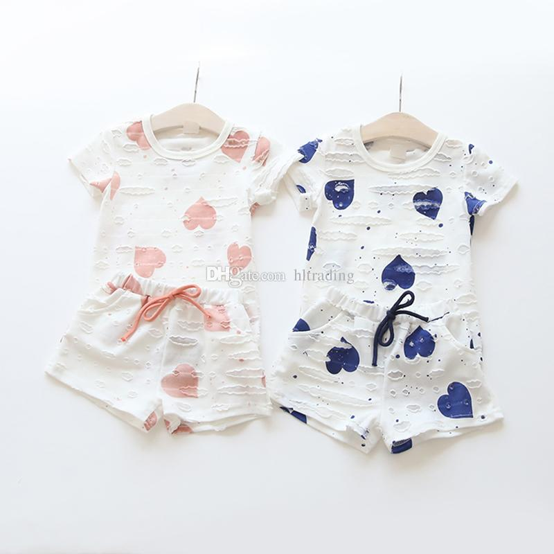 Baby girls outfits Heart Printed top+shorts 2pcs/set 2018 summer children suit Boutique kids Clothing Sets C3940
