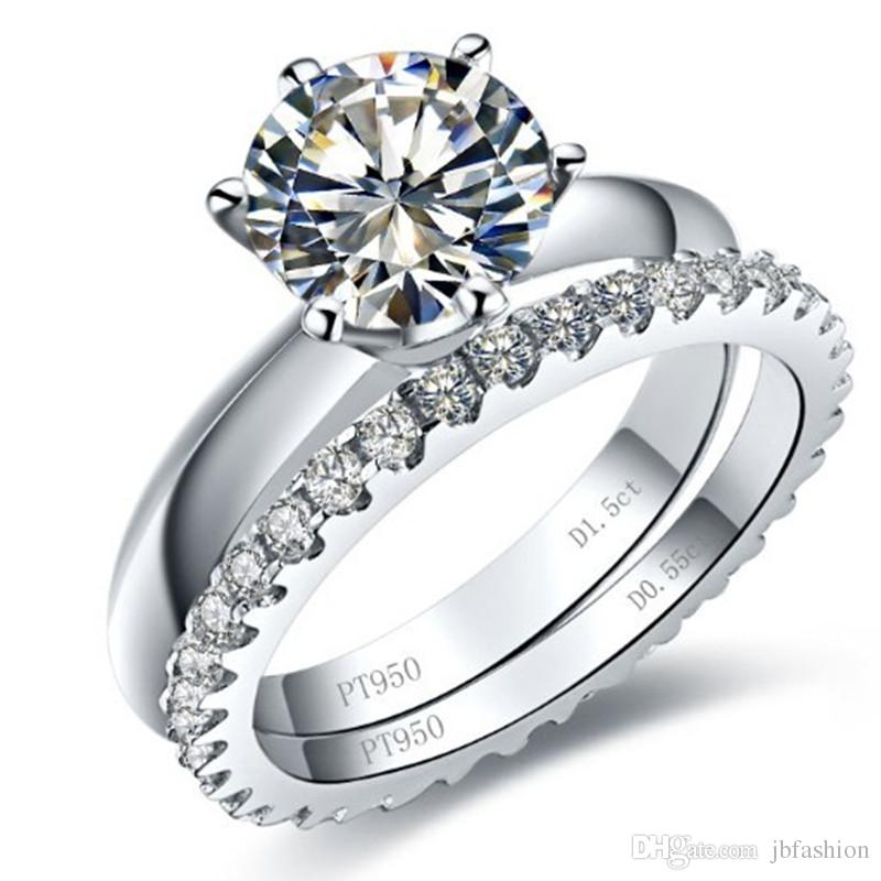 dd12f2a3e 2019 Big 3 Carat Halo Synthetic Diamond Engagement Ring Set Wedding  Sterling Silver Stacking Ring Set Platinum Plated Jewelry Ring Set For  Bridal From ...