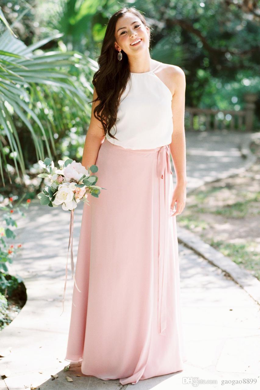 Propre et moderne 2019 robes de demoiselle d'honneur en mousseline de soie Summer Country Boho lumière rose demoiselle d'honneur robes d'une ligne robe d'invité de mariage de cou licou
