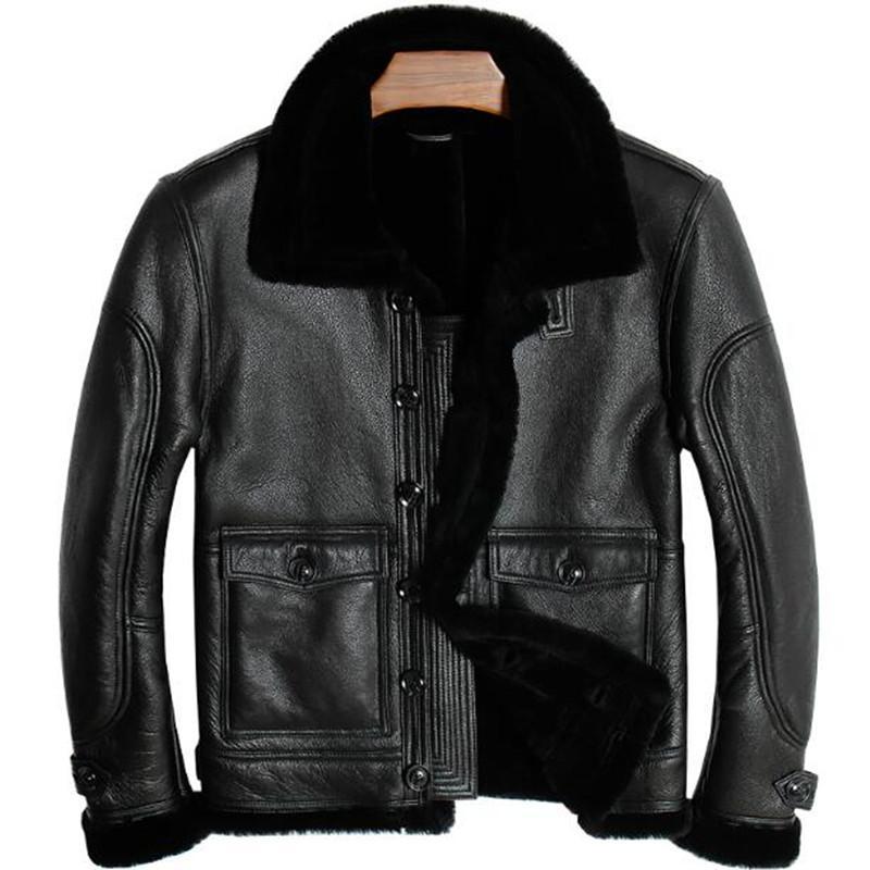 38df6a91 Para hombre Abrigo de piel de oveja Chaqueta de cuero genuino de invierno  Piloto de motocicleta Básico Vintage Piel Negro Collar Clásico Grueso ...