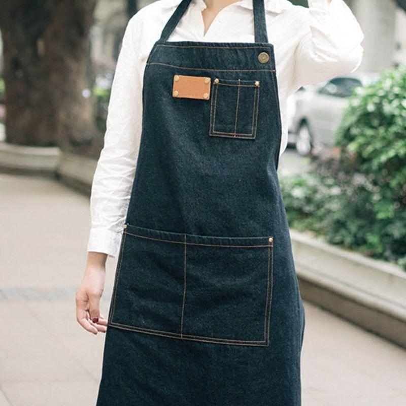 Acquista Grembiule Di Jeans Nero Grembiule Barbiere Barista Fiorista Cafe  Bar Chef Bistro Uniformi Pittore Tattoo Shop Pittura Giardinaggio  Abbigliamento Da ... 60fe4acfc2b0