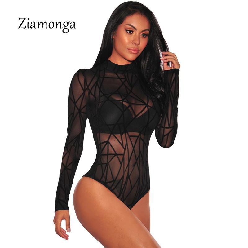 ae9d522a3 Compre Ziamonga Mamelucos De Malla Sexy Mujeres Mono De Encaje Negro Body  Mujeres Mamelucos Transparentes Para Mujeres De Manga Larga Mamelucos A   15.08 Del ...