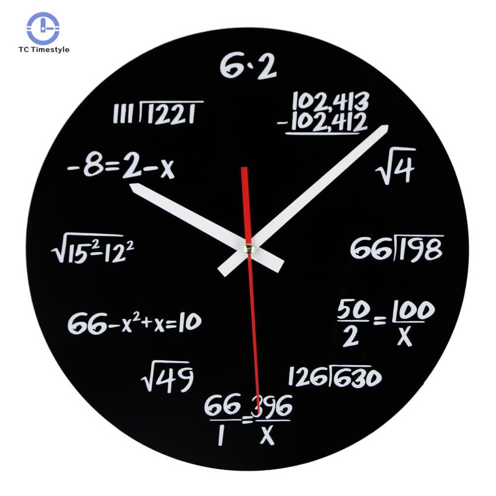 Acrylic Wall Clock Maths Equation Modern Design Novelty Art Unique