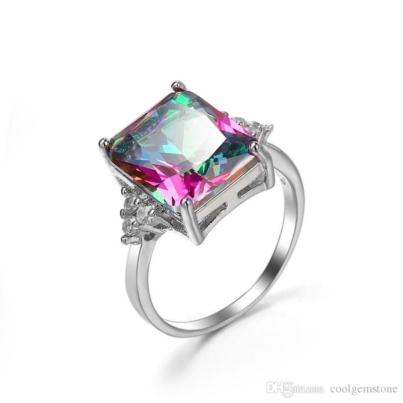 Hot Säljare Gratis och snabb Frakt 925 Sterling Silver Plated Mystic Stone Glaring Gemstone Cocktail Bröllop Ringar för älskare
