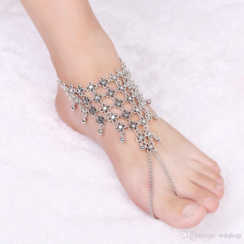 Retro Elegant Hollow Flower Drops Tassel Anklet Fashion Silver Tone Toe Ankle Chain Summer Beach Sandals Jewelry For Women
