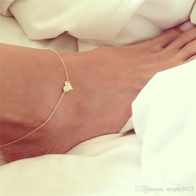 Joyería de plata de la nueva vendimia del color del corazón del oro para el tobillo sandalias descalzas del pie de la pierna tobillo del pie pulseras para las mujeres