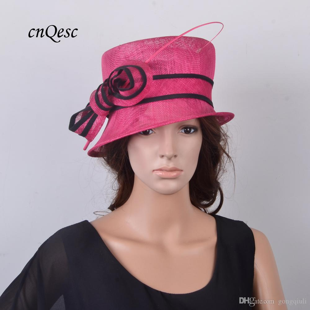 1493c448444 Fuchsia black Elegant Small Sinamay Hat Royal Wedding Hat Bridal ...