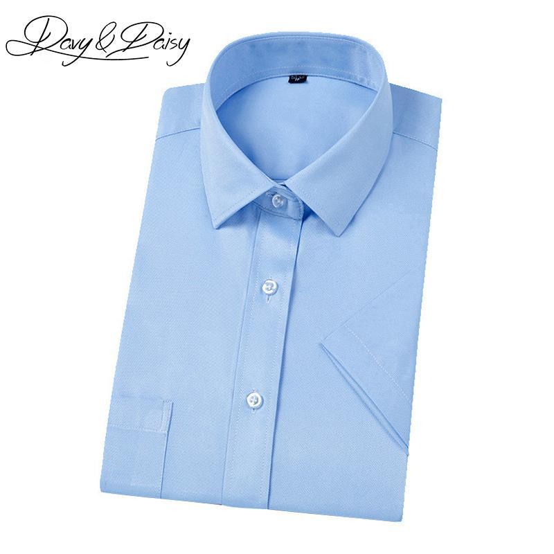 bcae805667 Compre DAVYDAISY Alta Qualidade Camisa De Vestido Dos Homens De Negócios De  Manga Curta Verão Formais Slim Fit Camisas Sociais Dos Homens Sólidos  Camisas DS ...