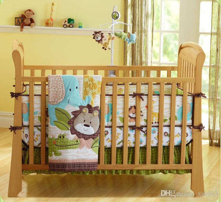 New Brand Baby boy bedding set 7Pcs Cot bedding set 3Dembroidery lion  elephant giraffe and crocodile selling fashion crib bedding set