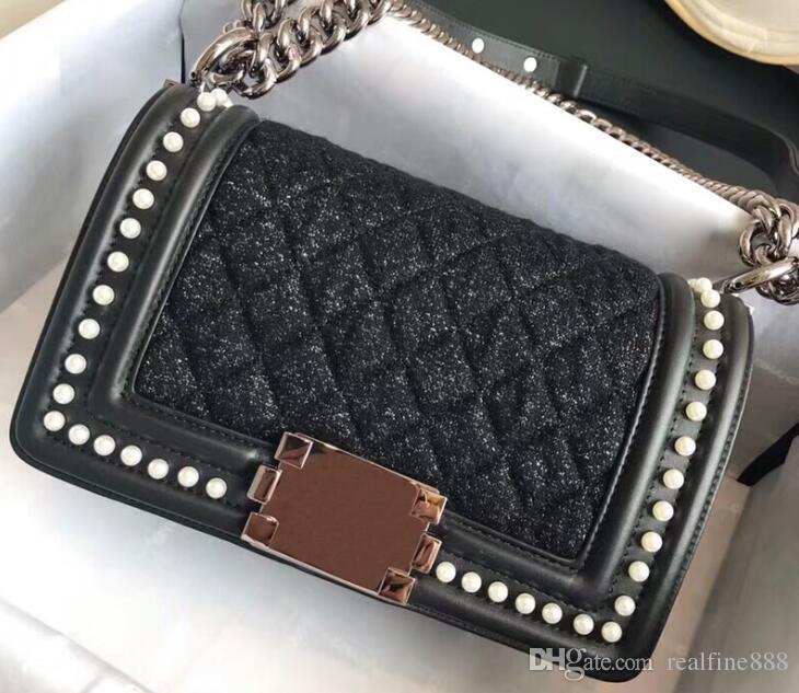 48e77dae43538 DHL Free 5A A67086 25cm A67085 20cm Boy Handbag,Tweed Calfskin Imitation  Pearls,Ruthenium Finish Metal Hardware,Come With Dust Bag+Box Handbags  Purses From ...