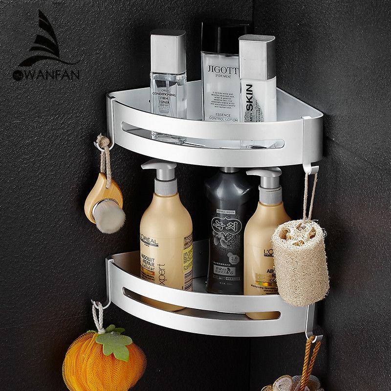 Badezimmer Regale Metall Chrom Dusche Ecke Regal Handtuch Haken Shampoo  Cosmetic Rack Wandhalterung Badezimmer Halter Bad Korb 9240