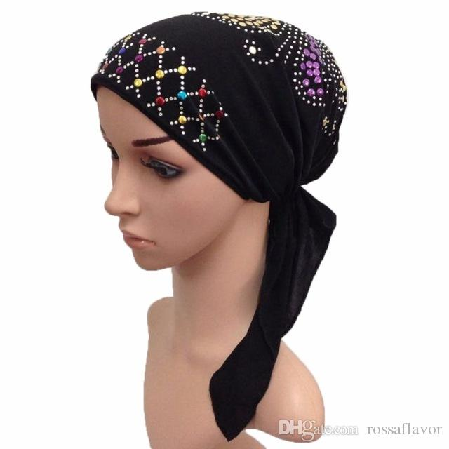 Muslim Cotton Full Cover Inner Hijab Cap Islamic Head Wear Hat Underscarf  With Belt Bandage Beautiful Sequins Islamic Clothing Head Scarves From  Rossaflavor ... be65b7c8b14