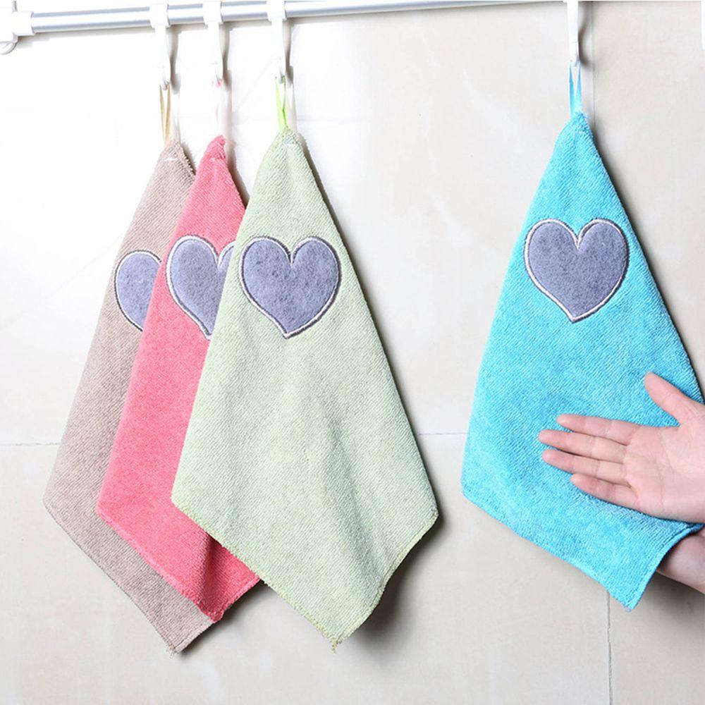 Cute Love Heart Pattern Hand Towel Soft Dishcloth Kitchen Cleaning ...